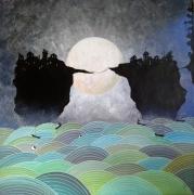 tableau paysages lac vagues lune village perche : #3