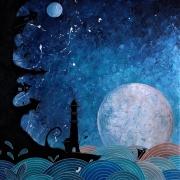 tableau marine lune vague phare village : #1