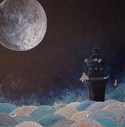tableau marine mer ocean vagues phare poissons lune : #4