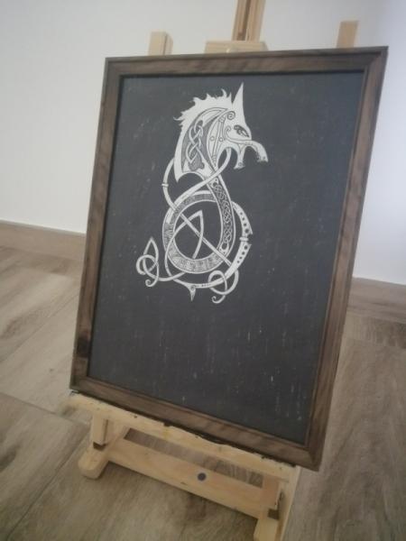 TABLEAU PEINTURE Viking Fenrir Mythologie Scandinave  - Entrelacs