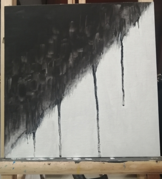 TABLEAU PEINTURE Blanc Ying Bien Mal Abstrait Acrylique  - Blanc et noir