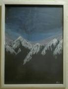 tableau paysages montagne etoile paysage ciel : Montagne étoilée