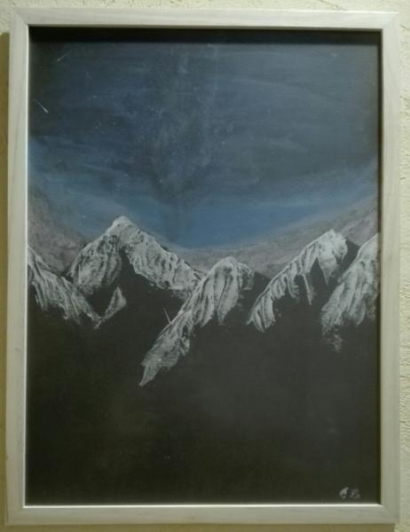 TABLEAU PEINTURE Montagne Étoile Paysage Ciel Paysages Acrylique  - Montagne étoilée