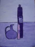 tableau nature morte bouteille cuisine verre cruche : ma cuisine en violet