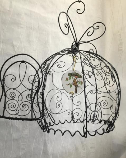 DéCO, DESIGN Arabesques metal oriental oiseau  - Cage boule