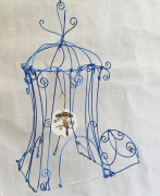 deco design cage arabesque fil metal : La cage bleue
