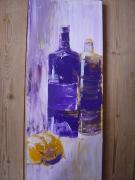 tableau nature morte cuisine bouteilles orange nuance : la jaune et le pourpre