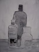 tableau nature morte cuisine bouteilles flacon : la cuisine en noir et blanc