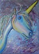 tableau animaux licorne pouring fantaisie fantazy : L'œil de la licorne