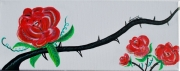 tableau fleurs fleur rosier rose epine : Epineux