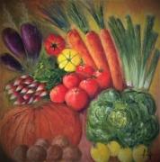 tableau nature morte legumes printemps bio fruits : Jardinière