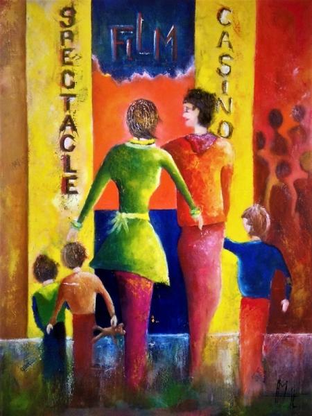 TABLEAU PEINTURE famille ensemble sortie enfants Personnages Peinture a l'huile  - Sortie en famille