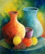 tableau nature morte pot vases naturemorte couleur : Les pots