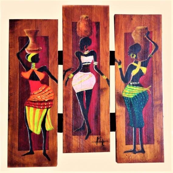BOIS, MARQUETERIE Africaine noir bois galerie mt Personnages  - Les Africaines 2