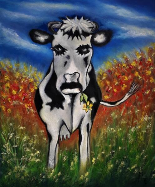 TABLEAU PEINTURE vache campagne bucolique galerie mt Animaux Peinture a l'huile  - La vache !!