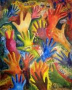 tableau abstrait mains pouvoir amour geste : Les mains