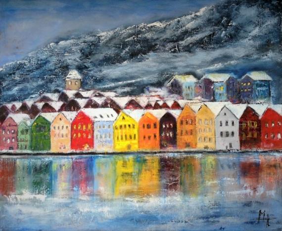 TABLEAU PEINTURE hiver nordique ville neige Paysages Peinture a l'huile  - Bord de mer nordique