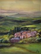 tableau paysages vert paysage colline italie : Paysage