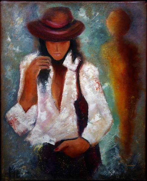 PAINTING femme ombre chapeau galerie mt Personnages Peinture a l'huile  - Femme et l'ombre