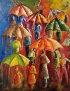 tableau personnages affluence pluie parapluie personne : Affluence
