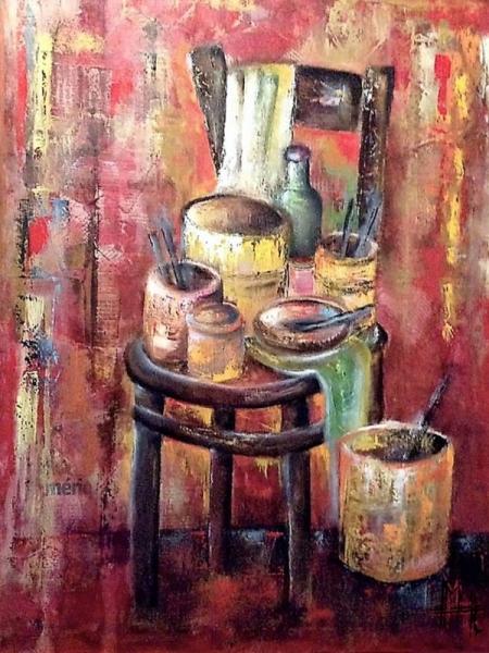 TABLEAU PEINTURE chaise peintre pinceaux pots Nature morte Peinture a l'huile  - La chaise du peintre