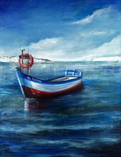 TABLEAU PEINTURE flobart peche mer audresselle Marine Peinture a l'huile  - Le Flobart