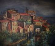tableau paysages village perche sud provence : Village perché