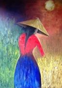 tableau personnages femme asie campagne : Parfun d'Asie