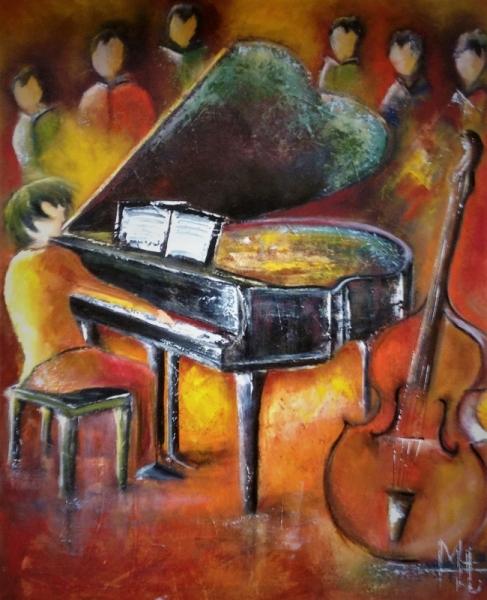 TABLEAU PEINTURE piano musique public galerie mt Scène de genre Peinture a l'huile  - Le son de piano