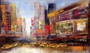 tableau villes new york taxis rue jaune : Taxi'rush in NY