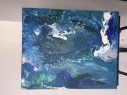 tableau abstrait acrylique bleu original : Abstrait