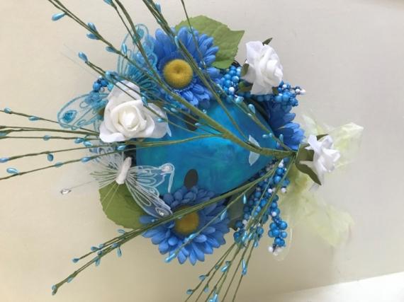 ARTISANAT D'ART masque bleu masque decoratif masque fleurs masque papillons Personnages  - masque nature bleu