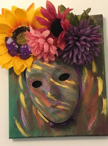 ARTISANAT D'ART masque automne masque decoratif masque toile masque fleurs Personnages  - masque songe d'une journée d'automne