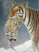 tableau animaux animaux tigre maman bebe : maman tigre et son bébé