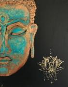 tableau personnages bouddha lotus deco dore : Bouddha I