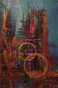 tableau architecture abstrait multicolore or irise : Cathédrale