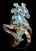 sculpture marine hippocampe verre mer metal : LANCELOT