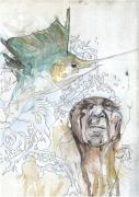 tableau scene de genre : Le vieil homme et la mer
