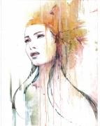 tableau personnages portrait acrylique carte : Helena