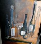 tableau bouteilles table transparence : Sur la table