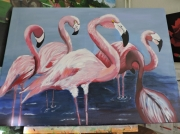 tableau animaux : flaments rose