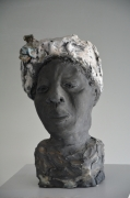 sculpture tete femme terre argile raku : Nouvelle Orléans