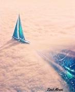 art numerique paysages bateau mer reverie nuages : Rêverie