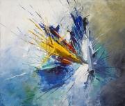 tableau abstrait mer bleu acrylique abstrait : Colère de PosÏdon