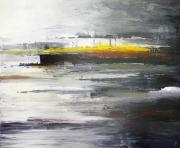 tableau abstrait couteau matiere paysage eau : Courant d'âmes