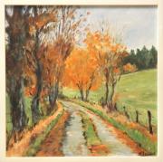 tableau paysages paysage automne route arbres : route en automne