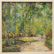 tableau paysages foret arbres promeneurs : promenade en foret
