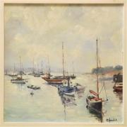 tableau marine port bretabne marine bateaux : port breton n°2