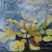 tableau fleurs fleur lotus huile pigments : Fleur de Lotus