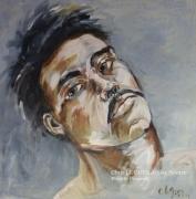 tableau personnages man personnage huile pigments : Man